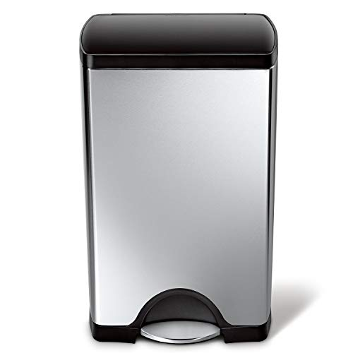 simplehuman Rectangular Step Trash Can, Brushed Stainless Steel, 38 Liters /10 Gallons