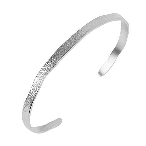 Pernille Corydon Armreif Silber Damen - Armband Moonscape Bracelet Gehämmert Hinten Offen Silber 925 - B209s