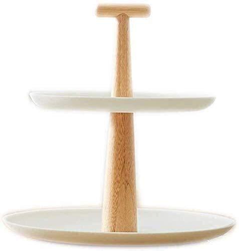 Corbeille de fruits Assiette de fruits, Salon double couche Fruit Plate, Plate fibre de bambou Fruit, Plat à gâteau, ronde en céramique Dessert Gâteau étagé Assiette de fruits