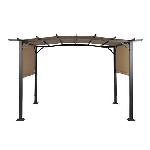 Suna Outdoor Patio 12 x 9 Ft Pergola Gazebo, Outdoor Patio Sunshelter Steel Frame Pergola Retractable Canopy Shade for Backyard, Beige