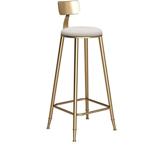 YLCJ barkruk, voetenbankje, met rugleuning van schuimstof, wit, eetkamerstoelen voor keuken, kroeg, kust en barkruk. Draagkracht 150 kg, voeten van metaal, goudkleurig. 46x46x85cm