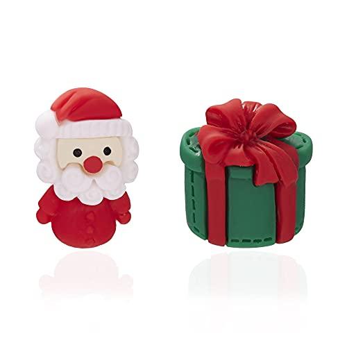 QTSUANNAI Pendientes de Feliz Navidad - Árbol de Navidad Santa Claus Pendientes de Sementales de Asimetría - para Mujeres Chicas Joyería de Moda Regalo de Año Nuevo,Santa Claus