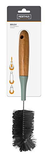NERTHUS 655 FIH-Cepillo para Limpiar Mango de Bambú, Ideal para la Limpieza de Las Botellas de Doble Pared, Acero Inoxidable, Negro/Marron, 31 x 4,6 x 4,6 cm
