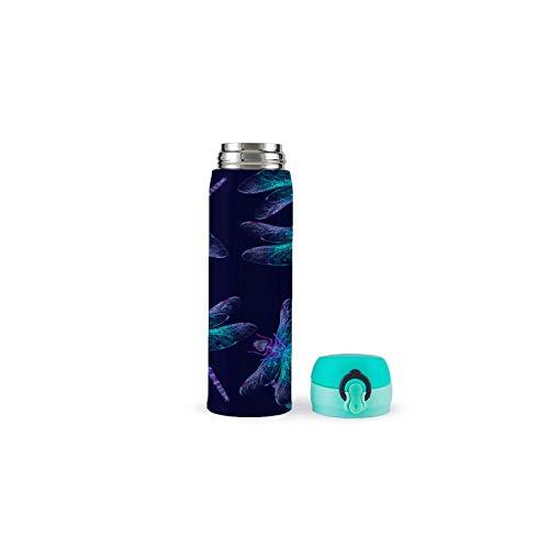 XUJIAHUI Botella de agua extraña libélula termo aislado de acero inoxidable para deportes, café, té, viajes al aire libre, taza de seguridad a prueba de fugas, taza al vacío de 17 onzas (500 ml)