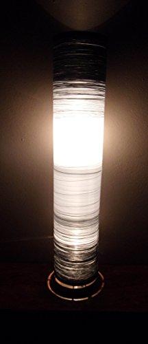 Unusual Hand Made Black White & Silver Cylinder Lamp Designer Bali Lamp 100cm