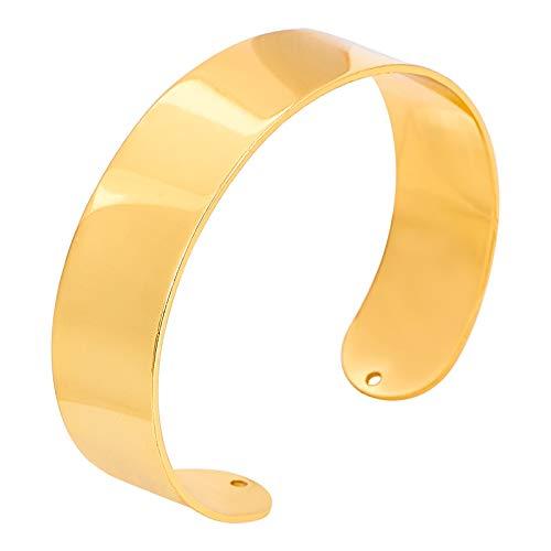 PandaHall 8 piezas de latón macizo con base de brazalete plana, chapado en oro de 18 quilates, diámetro interior de 5,7 cm