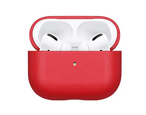 fooyin [Handmade Series Étui en Cuir pour AirPods Pro, Protection Coque (Cuir de Vache) Housse Compatible avec Apple AirPods Pro, Rouge