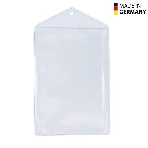 50 Stück transparente Kunststoff-Ausweishüllen Made in Germany, im Format 105x148 mm (Hochformat) als Schutzhülle für Karten DIN A6 - Kartenhalter - aus Soft PVC für Schlüsselbänder/Lanyards
