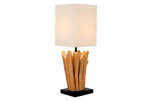 DuNord Design Tischlampe Holz Treibholz Schwemmholz Lampe Leinen weiß natur 45cm