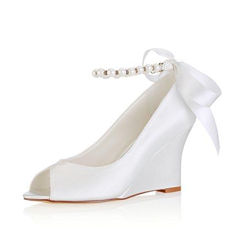 Emily Bridal Zapatos de Boda de Marfil Peep Toe de Seda Perlas...