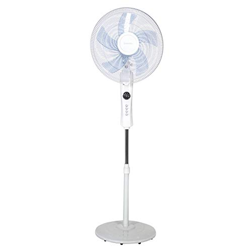 UNIVERSALBLUE | Ventilador de pie con Display Blanco | Silencioso | Mando a Distancia | Potencia 50 W |3 Velocidades | Modo Oscilante