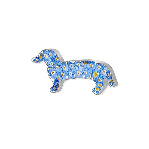 Dachshund brooch by Shrieking Violet. Sterling silver 'sausage dog' pin brooch with real forget-me-nots. Handmade jewellery with real flowers.