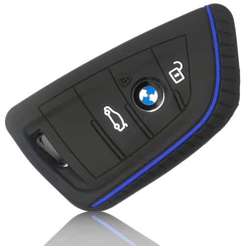 FoilsAndMore Hülle kompatibel mit BMW 3-4-Tasten Autoschlüssel (nur Keyless-Go) - Silikon Schutzhülle Cover Schlüsselhülle in Schwarz Blau