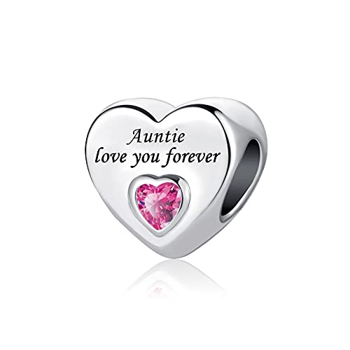 KunBead Jewelry Auntie Best Aunt Heart Love You Forever Pink Crystal Bead...