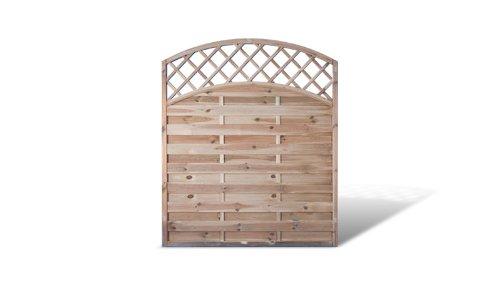 Sichtschutzzaun Zaunelemente mit Doppelbogen + Rankgitter Maß 150 x 180 auf 160 cm (Breite x Höhe) aus Kiefer/Fichte Holz, druckimprägniert für den Garten