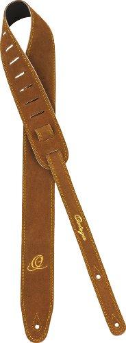 Ortega OSS2-BR hoogwaardige bruine suède riem met geborduurd Ortega opschrift, 65 mm breed 142 cm lang