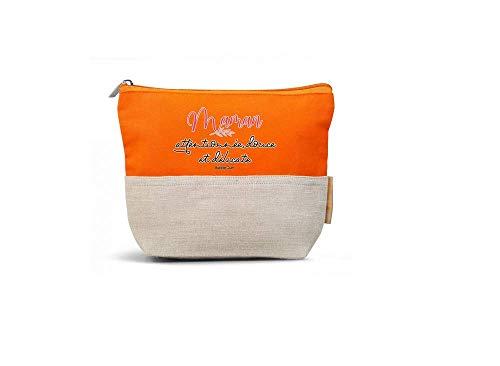Bubble Gum - Trousse de Maquillage Maman Attentionnée - 22 x 16 x 6 cm - Couleur Orange - Coton Bio et Jute