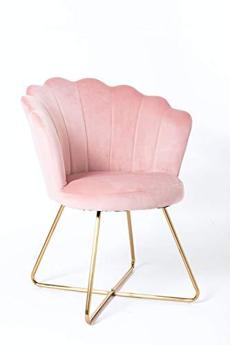 Duhome Sessel aus Stoff Samt Polstersessel Retro Design Polsterstuhl Metallgestell Gold 8057C, Farbe:Hellrosa, Material:Samt