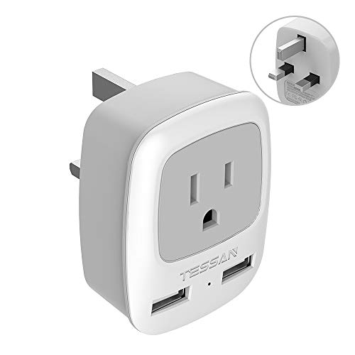 UK Ireland Hong Kong Power Adapter, TESSAN International Travel Plug with 2 USB, Outlet Adaptor Charger for USA to British England Scotland Irish London (Type G)