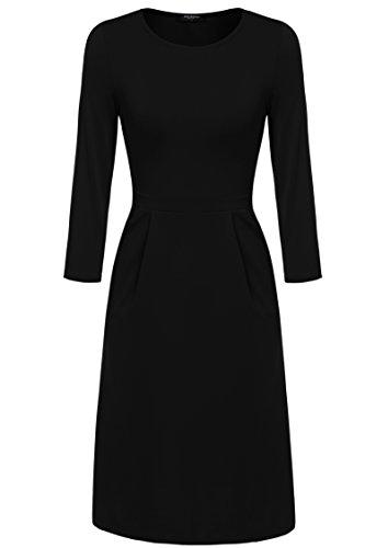 Zeagoo Damen Casual 3/4 Ärmeln Kleid Etuikleid A-Linie Kleid Rundhals