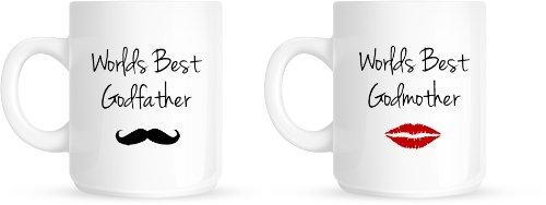 Worlds Best madrina y el Padrino padrinos de regalo de bautizo juego de taza de café