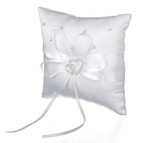 Deanyi - Cuscino per fedi nuziali, 15 x 15 cm, con strass a forma di cuore, colore: Bianco