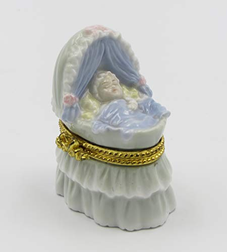 Review Of Cosmos Gifts Fine Porcelain Baby Boy Sleep in Cradle Design Hinged Limoge Box, 1-1/2 H