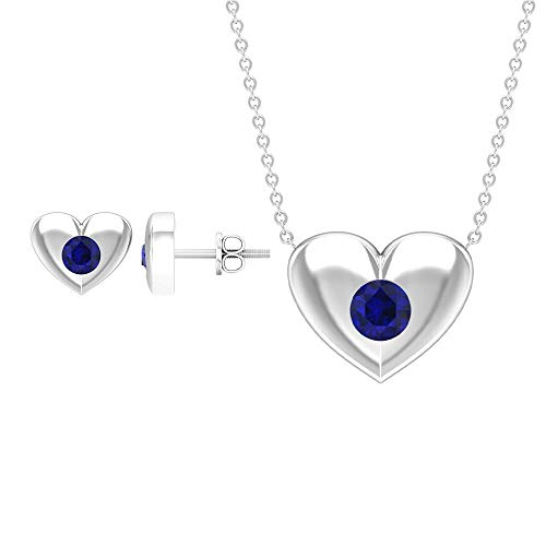 3/4 CT Blue Sapphire Jewelry Set, Gold Pendant Earrings Set (4 MM Round Shaped Blue Sapphire), 10K Yellow Gold Without Chain