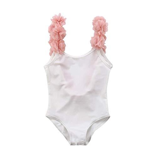 Costumi da Bagno Bambina Costume Mare Bimba Fiore Costume Intero Bagnarsi Beachwear Neonata Romper Senza Schienale Swimsuit (Bianca, 12-18 Mesi)