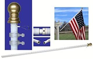 US Flag Store Walls-2 White Bracket 7ft Spinner Flagpole Aluminum-Pole Only, 7 Feet