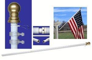 US Flag Store Walls-2 White Bracket 7ft Spinner Flagpole Aluminum-Pole Only 7 Feet