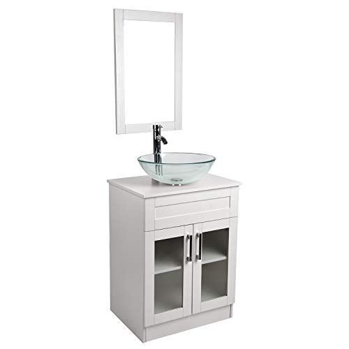 24 inch Bathroom Vanity Combo Modern MDF Cabinet with Vanity Mirror Tempered Glass Counter Top Vessel Sink with 1.5 GPM Faucet and Pop Up Drain