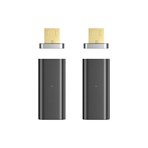 NetDot 2 Pack Micro USB de Tercera generación con Adaptador Micro USB magnético Compatible con Android Devie (Adaptador Micro USB/Paquete de 2 Negro)