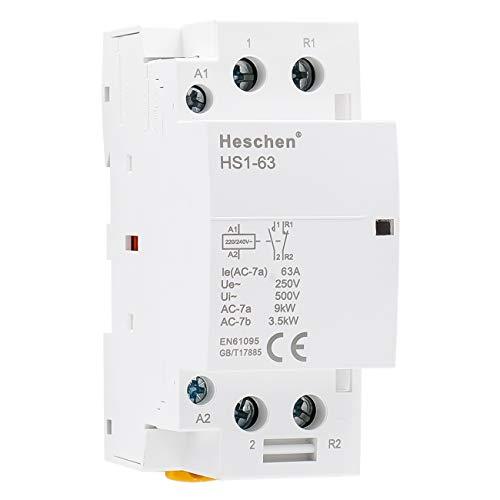 Heschen Contactor de CA doméstico HS1-63 2 polos 1NO 1NC 220V/240V Voltaje...