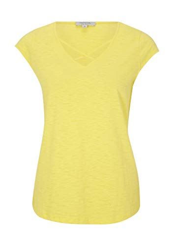 comma Casual Identity Damen Flammgarn-Shirt mit V-Neck Light Yellow 42