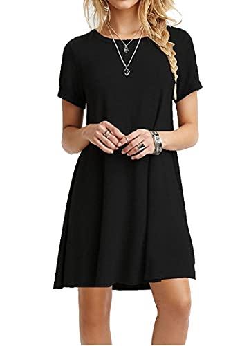MOLERANI - Vestido informal tipo camiseta, sencillo y holgado para mujer, Casual, S, 0 Negro