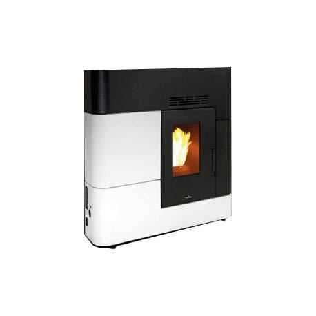 BRONPI - Estufa de pellets 12,4 KW mod.'Clara Extra' color blanco y negro