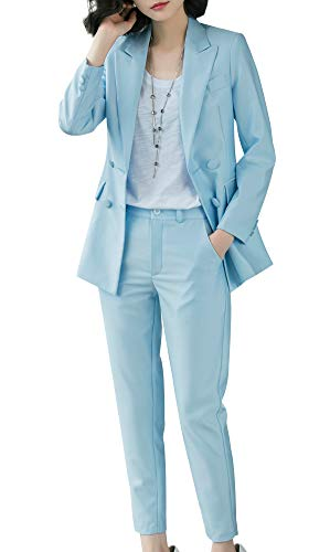 SUSIELADY Damen Hosenanzug 2-teilig Zweireiher Slim Fit Business Hochzeit Party Anzug
