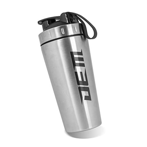 DEM Stainless Steel Protein Shaker Bottle 28oz (800ml) with Mixing Ball, BPA Free (Silver)