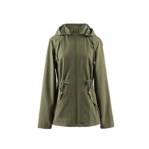 Polydeer Frauen Leichter wasserdichter Regenmantel Atmungsaktive Windjacke Jacke Active Outdoor Hooded Gefütterter verstellbarer Poncho (Grün, M)