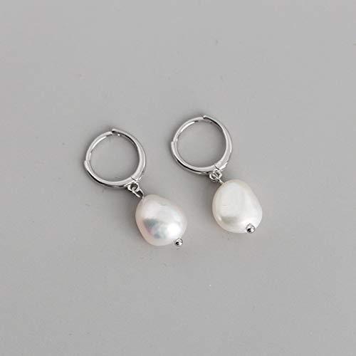 SALAN 925 Argent Sterling Naturel Perle Baroque d'eau Douce Boucles d'oreilles Inhabituelles pour Les Femmes Chic Charme Gothique Bijoux