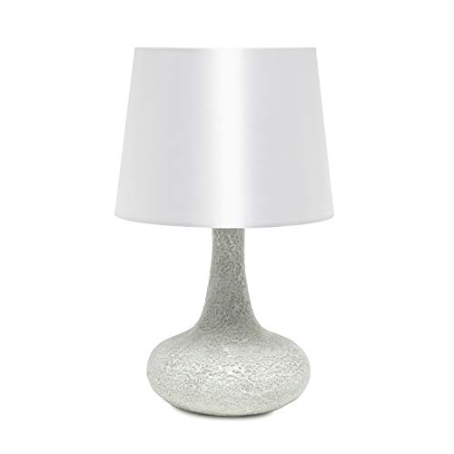 Simple Designs LT3039-WHT Mosaic Tiled Glass Genie Fabric Shade Table Lamp, White