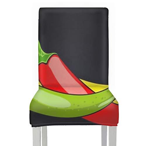 Funda para Silla Chile Pimienta Verde Amarillo Rojo Vector, 2 Piezas elásticas, extraíbles, Lavables, Protectores para sillas de Comedor, Fundas para decoración navideña/decoración del hogar, Funda