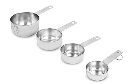 Internet's Best Set of 4 Stainless Steel Measuring Cups - Stackable Kitchen Utensils for Cooking Baking Dry and Liquid Ingredients