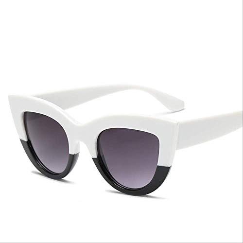 Genrics Medio Blanco Negro Gris Lentes Gafas de Sol Lindas Mujeres Cat Eye Gafas de Sol Retro Azul Espejo Blanco y Negro