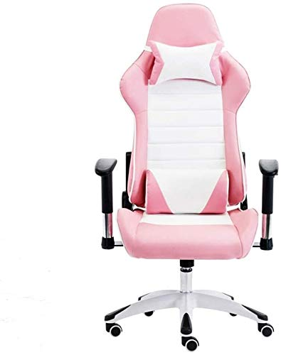 DBL Computer Chair Reclining Video Game Chair Lifting and Rotating Handrail E-Sports Gamer Chairs Height Adjustable Ergonomics Executive Desk Chair for Study Bedroom Desk Chairs (Color : Pink White)