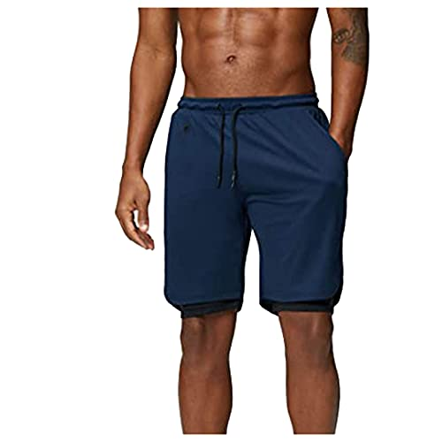 CHIYANG YANFANG Men's Fashion and Casual Cool Solid Color Shorts Comfortable Summer Sexy, High Dense Basketball Shorts Sports Shorts,Navy,XL