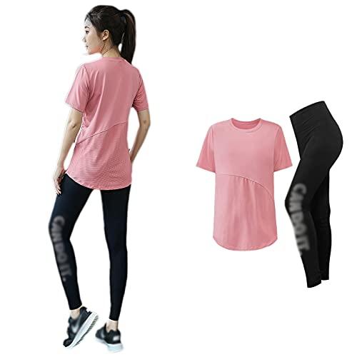 WHLONG - Camiseta de verano para yoga, talla grande, deportiva, suelta, para mujeres, secado rápido, entrenamiento de fitness, color rosa, talla XXL