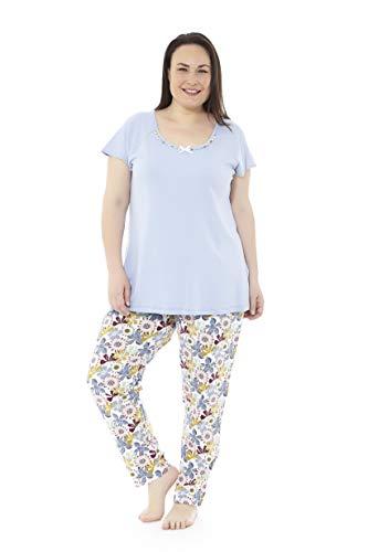 Mabel Intima Pijama Mujer Verano Tallas Grandes. Varios Estampados. Manga Corta y pantalón Largo Tallas Grandes Azul Celeste y Estampado Flores. Talla 50