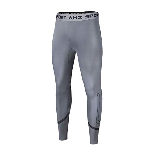 AMZSPORT Herren Kompressionshose Atmungsaktiv Lange Unterhose Laufhose Sport Tights Leggings, Grau, XL